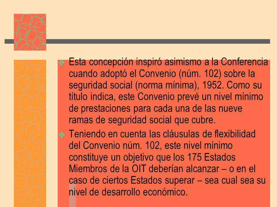 Convenio 102 La aprobación del Convenio No 102 adoptado por la Conferencia Internacional del Trabajo en junio de 1952, constituyó un hito en la historia de la seguridad social en el plano internacional, puesto que reúne, en un solo documento, las políticas que en esta materia los Estados que a la sazón eran miembros de la OIT, estaban dispuestos a hacer suyas.