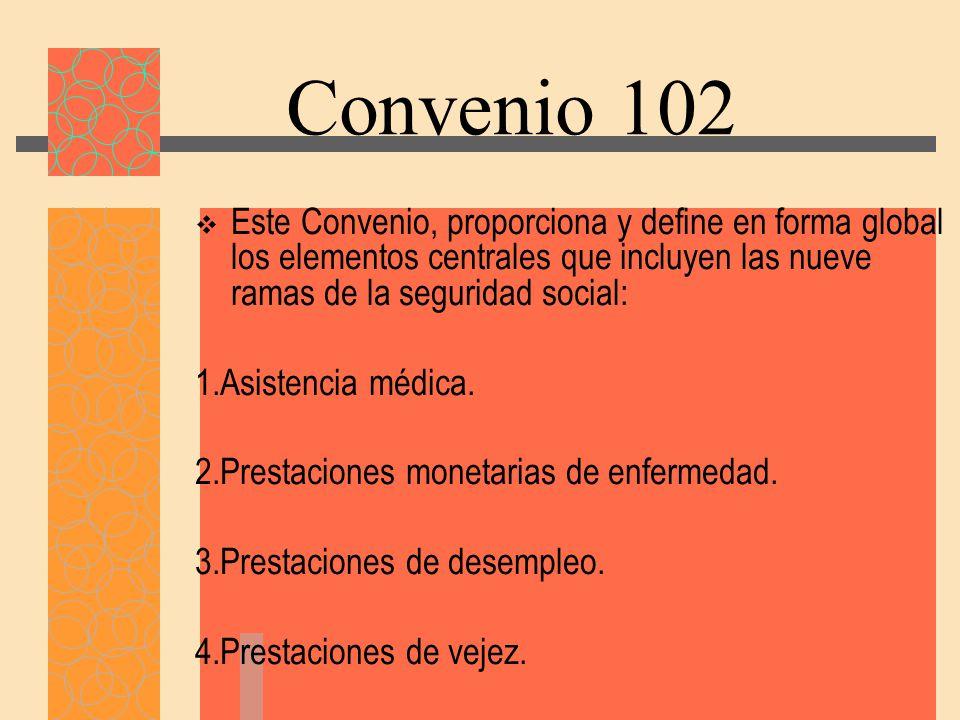Convenio 102 Este Convenio, proporciona y define en forma global los elementos centrales que incluyen las nueve ramas de la seguridad social: 1.Asistencia médica.