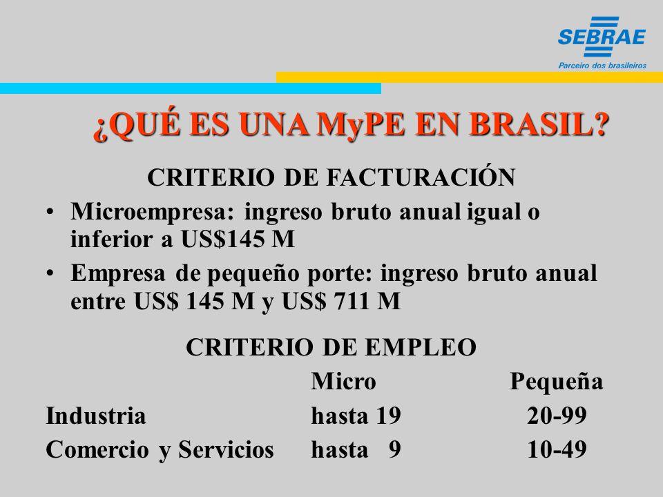EL MERCADO DE MyPEs EN BRASIL 3,6 MILLONES DEEMPRENDIMIENTOS FORMALES 8 MILLONES DE EMPRENDIMIENTOS INFORMALES 4,4 EMPRENDIMIENTOS RURALES
