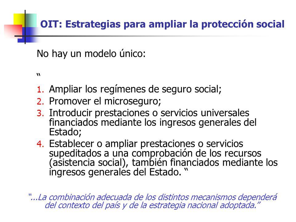 OIT: Estrategias para ampliar la protección social No hay un modelo único: 1. Ampliar los regímenes de seguro social; 2. Promover el microseguro; 3. I