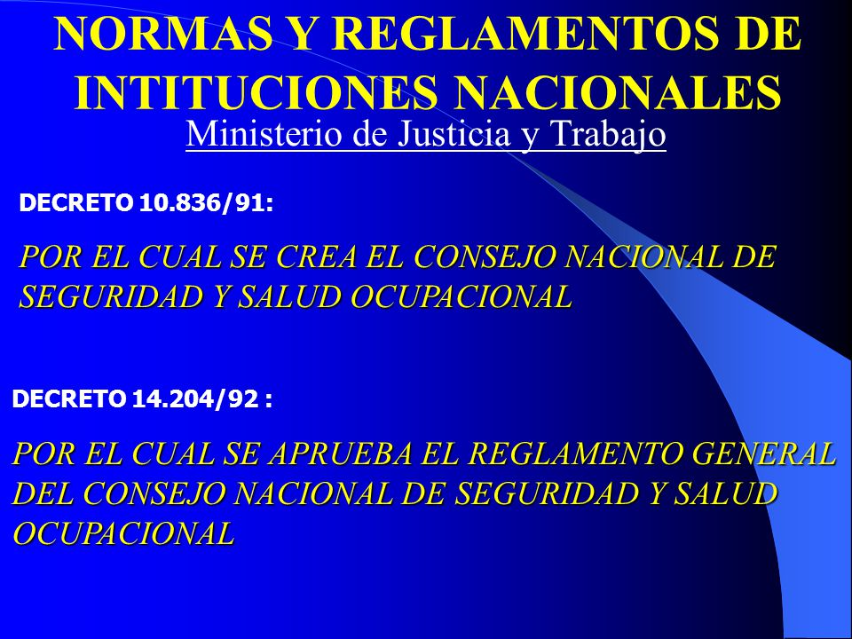 NORMAS Y REGLAMENTOS DE INTITUCIONES NACIONALES DECRETO 10.836/91: POR EL CUAL SE CREA EL CONSEJO NACIONAL DE SEGURIDAD Y SALUD OCUPACIONAL DECRETO 14.204/92 : POR EL CUAL SE APRUEBA EL REGLAMENTO GENERAL DEL CONSEJO NACIONAL DE SEGURIDAD Y SALUD OCUPACIONAL Ministerio de Justicia y Trabajo