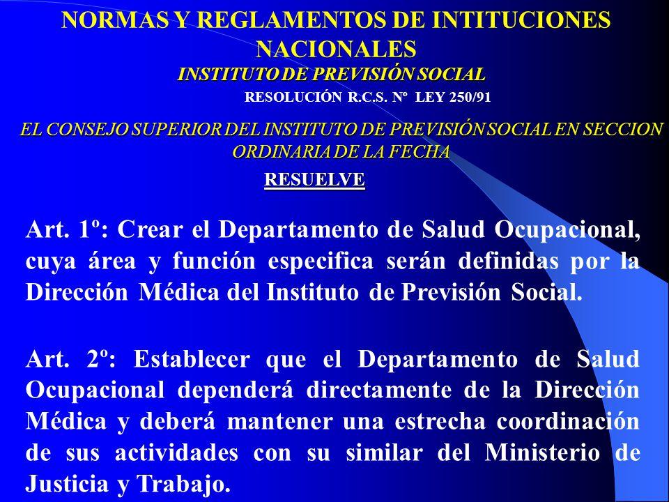 NORMAS Y REGLAMENTOS DE INTITUCIONES NACIONALES RESOLUCIÓN R.C.S.