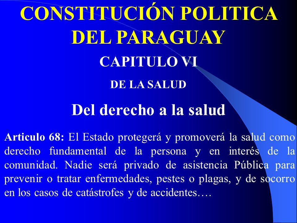 CONSTITUCIÓN POLITICA DEL PARAGUAY CAPITULO VI DE LA SALUD Del derecho a la salud Articulo 68: El Estado protegerá y promoverá la salud como derecho fundamental de la persona y en interés de la comunidad.