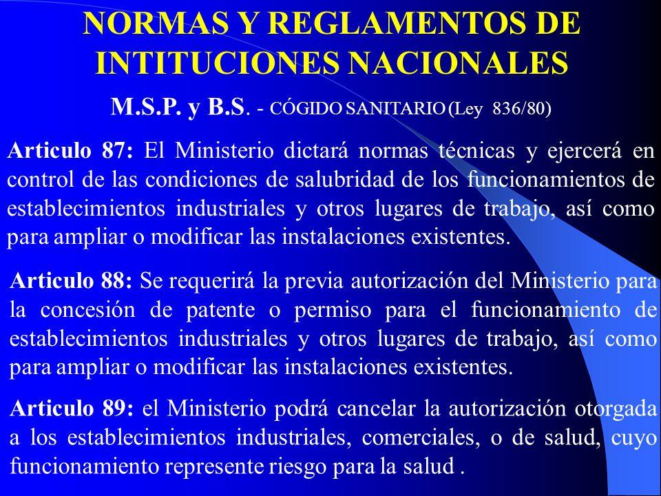 Articulo 87: El Ministerio dictará normas técnicas y ejercerá en control de las condiciones de salubridad de los funcionamientos de establecimientos industriales y otros lugares de trabajo, así como para ampliar o modificar las instalaciones existentes.