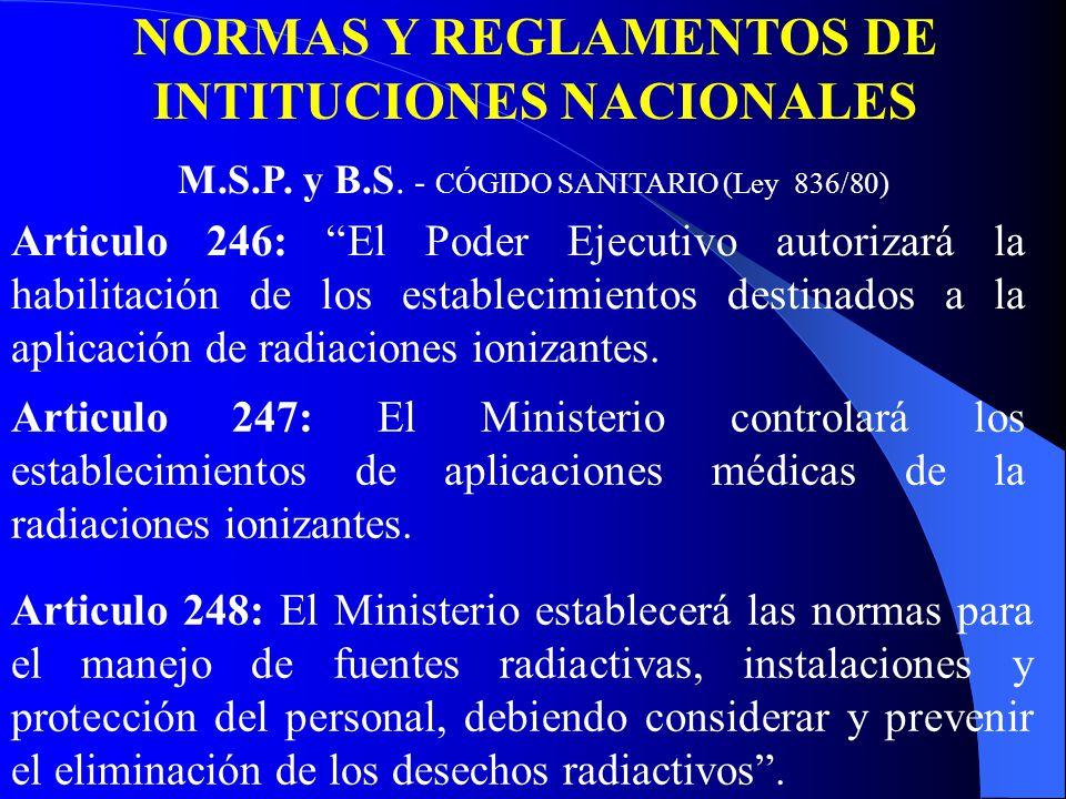 Articulo 246: El Poder Ejecutivo autorizará la habilitación de los establecimientos destinados a la aplicación de radiaciones ionizantes.