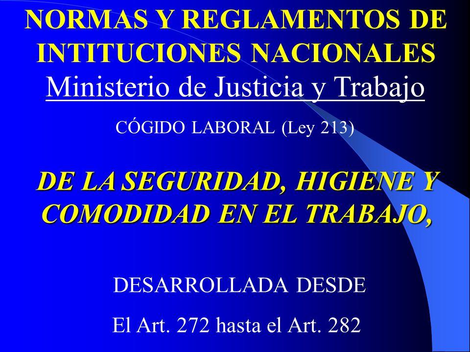 Ministerio de Justicia y Trabajo NORMAS Y REGLAMENTOS DE INTITUCIONES NACIONALES CÓGIDO LABORAL (Ley 213) DE LA SEGURIDAD, HIGIENE Y COMODIDAD EN EL TRABAJO, DESARROLLADA DESDE El Art.