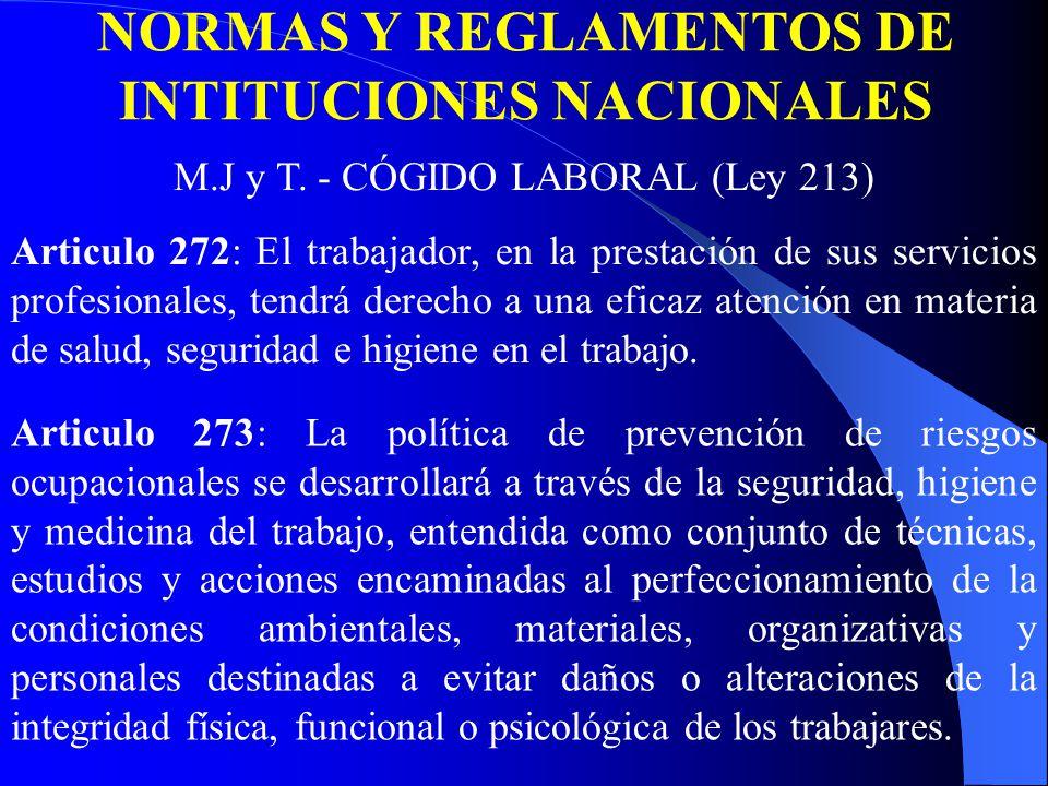 Articulo 272: El trabajador, en la prestación de sus servicios profesionales, tendrá derecho a una eficaz atención en materia de salud, seguridad e higiene en el trabajo.