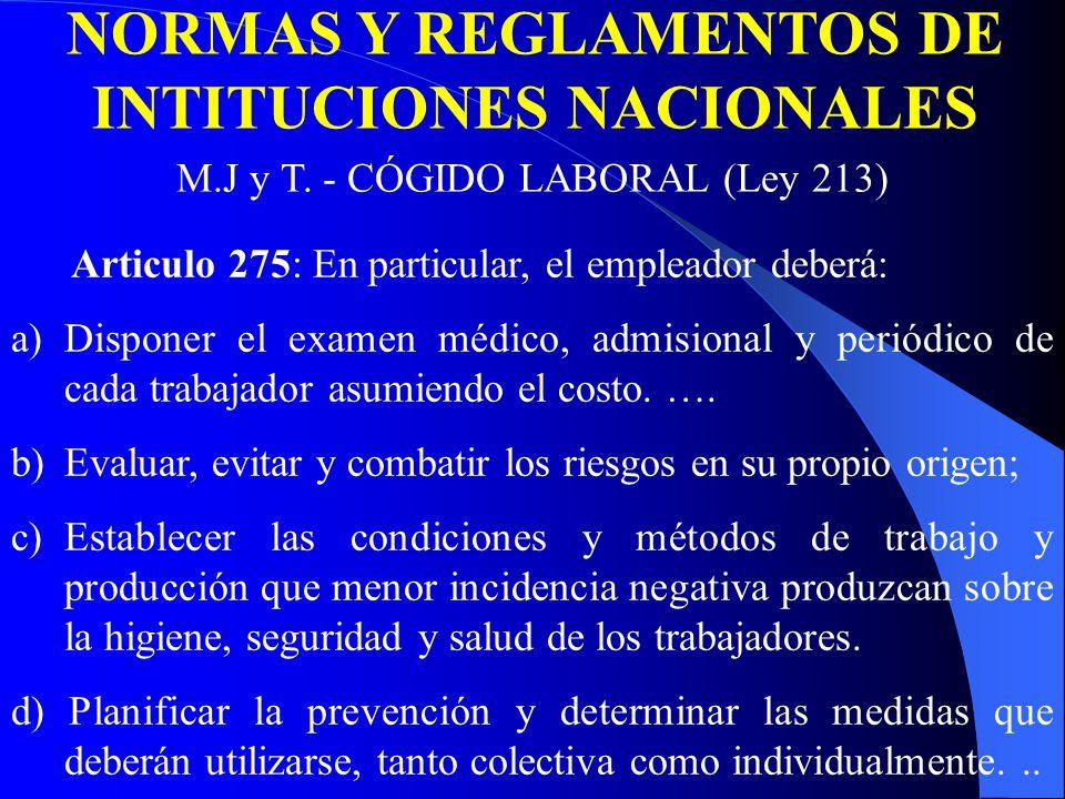 NORMAS Y REGLAMENTOS DE INTITUCIONES NACIONALES M.J y T.