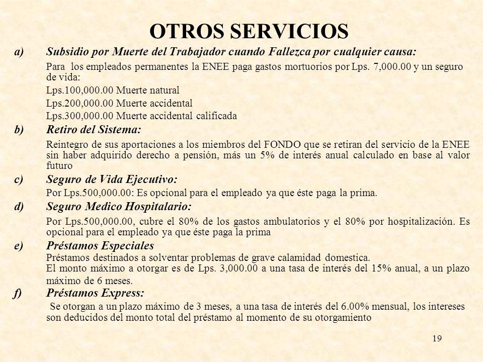 19 OTROS SERVICIOS a)Subsidio por Muerte del Trabajador cuando Fallezca por cualquier causa: Para los empleados permanentes la ENEE paga gastos mortuo