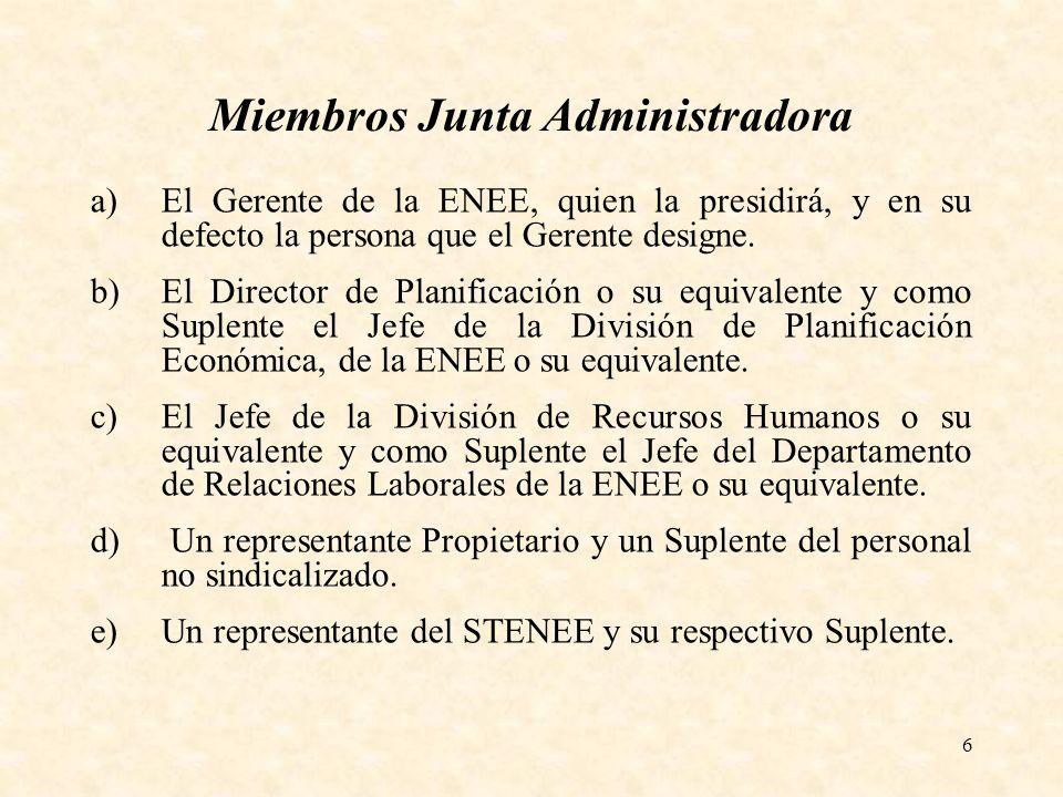 6 Miembros Junta Administradora a)El Gerente de la ENEE, quien la presidirá, y en su defecto la persona que el Gerente designe. b)El Director de Plani
