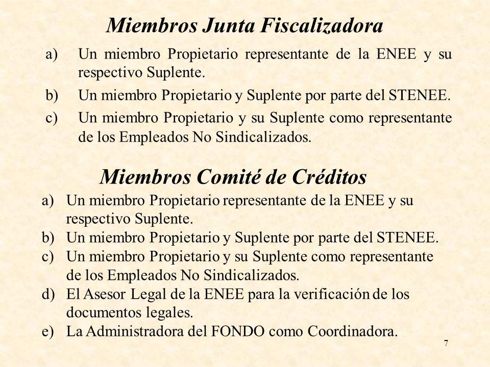 7 Miembros Junta Fiscalizadora a)Un miembro Propietario representante de la ENEE y su respectivo Suplente. b)Un miembro Propietario y Suplente por par