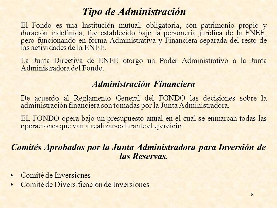 8 Tipo de Administración El Fondo es una Institución mutual, obligatoria, con patrimonio propio y duración indefinida, fue establecido bajo la persone
