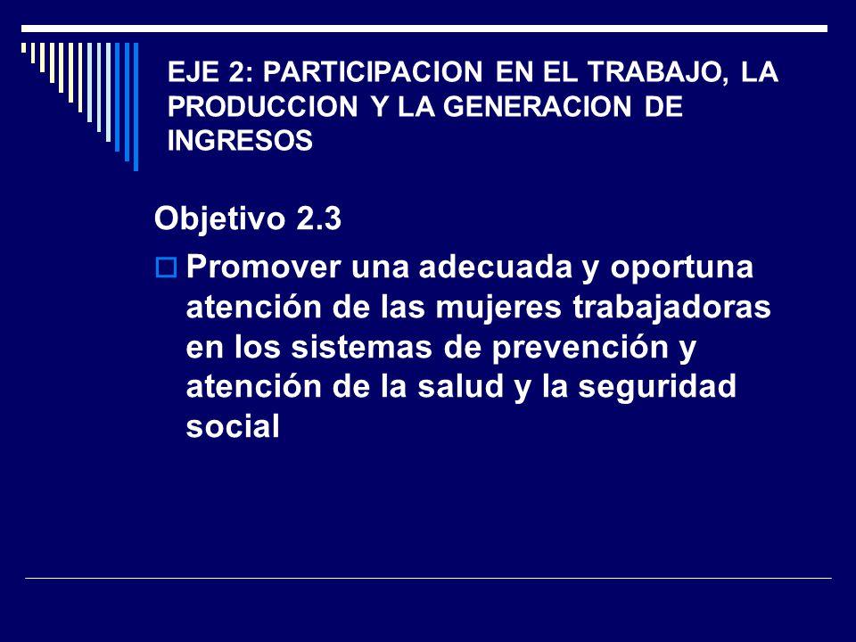 EJE 2: PARTICIPACION EN EL TRABAJO, LA PRODUCCION Y LA GENERACION DE INGRESOS Objetivo 2.3 Promover una adecuada y oportuna atención de las mujeres tr