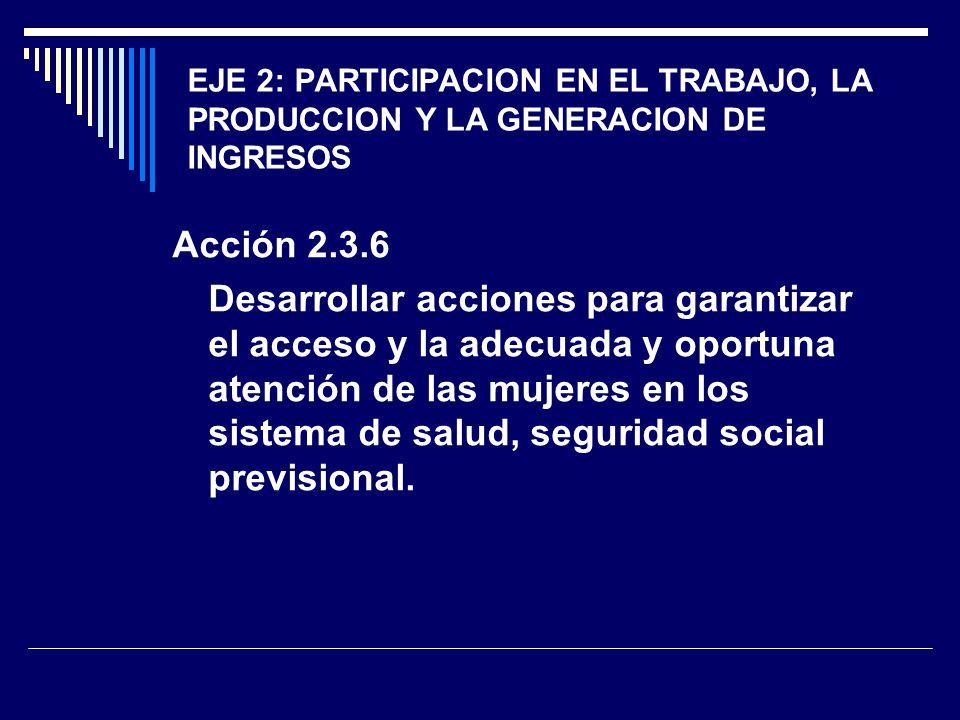 EJE 2: PARTICIPACION EN EL TRABAJO, LA PRODUCCION Y LA GENERACION DE INGRESOS Acción 2.3.6 Desarrollar acciones para garantizar el acceso y la adecuad