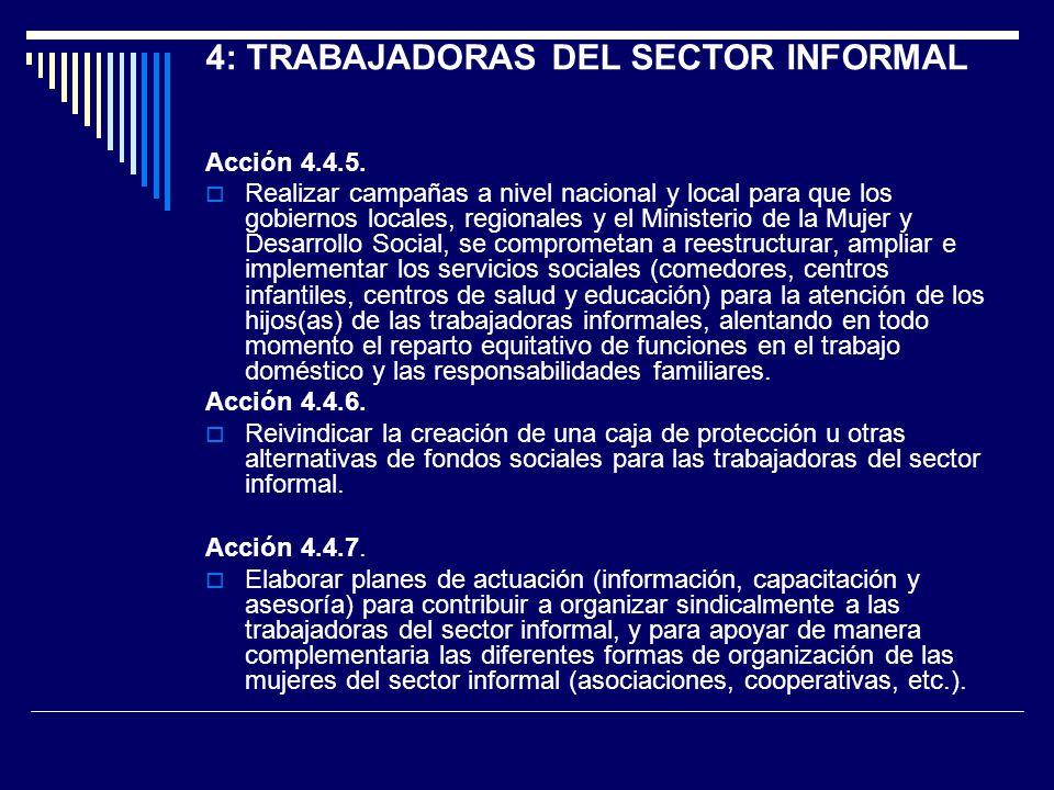 Acción 4.4.5. Realizar campañas a nivel nacional y local para que los gobiernos locales, regionales y el Ministerio de la Mujer y Desarrollo Social, s