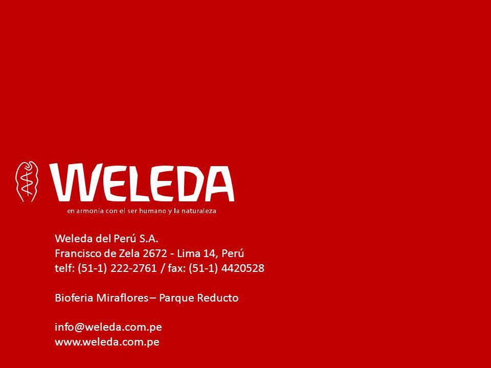 Weleda del Perú S.A. Francisco de Zela 2672 - Lima 14, Perú telf: (51-1) 222-2761 / fax: (51-1) 4420528 Bioferia Miraflores – Parque Reducto info@wele