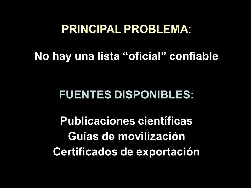 PRINCIPAL PROBLEMA: No hay una lista oficial confiable FUENTES DISPONIBLES: Publicaciones científicas Guías de movilización Certificados de exportació