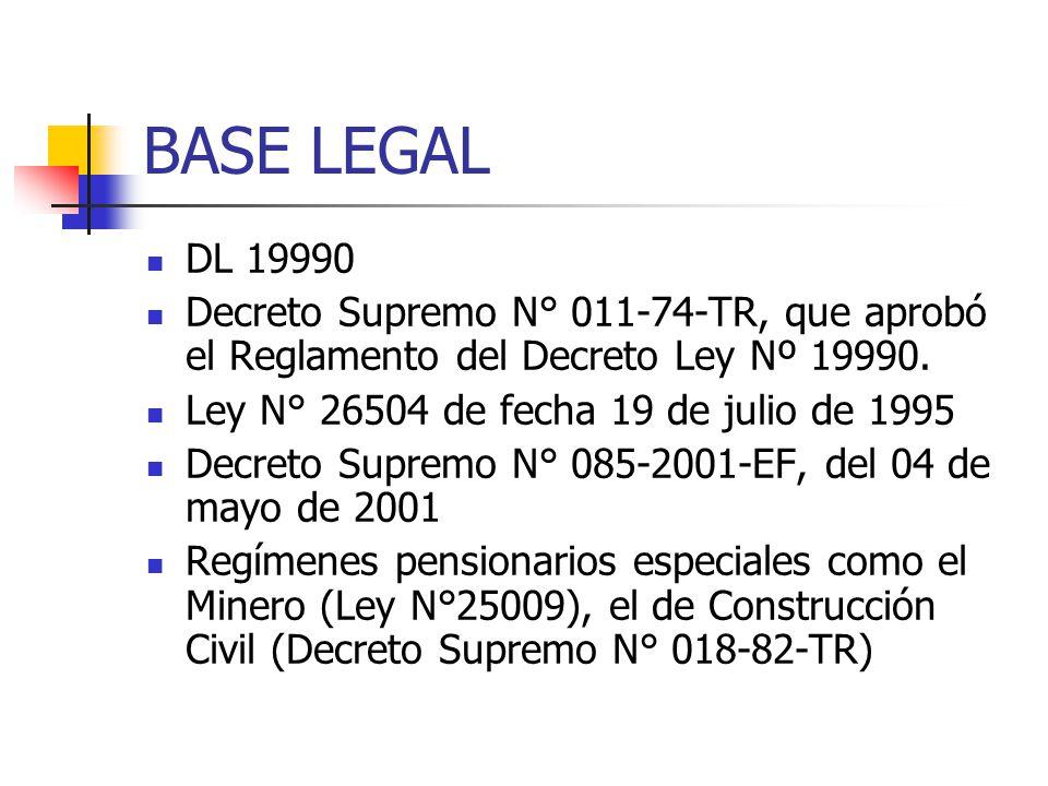 BASE LEGAL DL 19990 Decreto Supremo N° 011-74-TR, que aprobó el Reglamento del Decreto Ley Nº 19990. Ley N° 26504 de fecha 19 de julio de 1995 Decreto