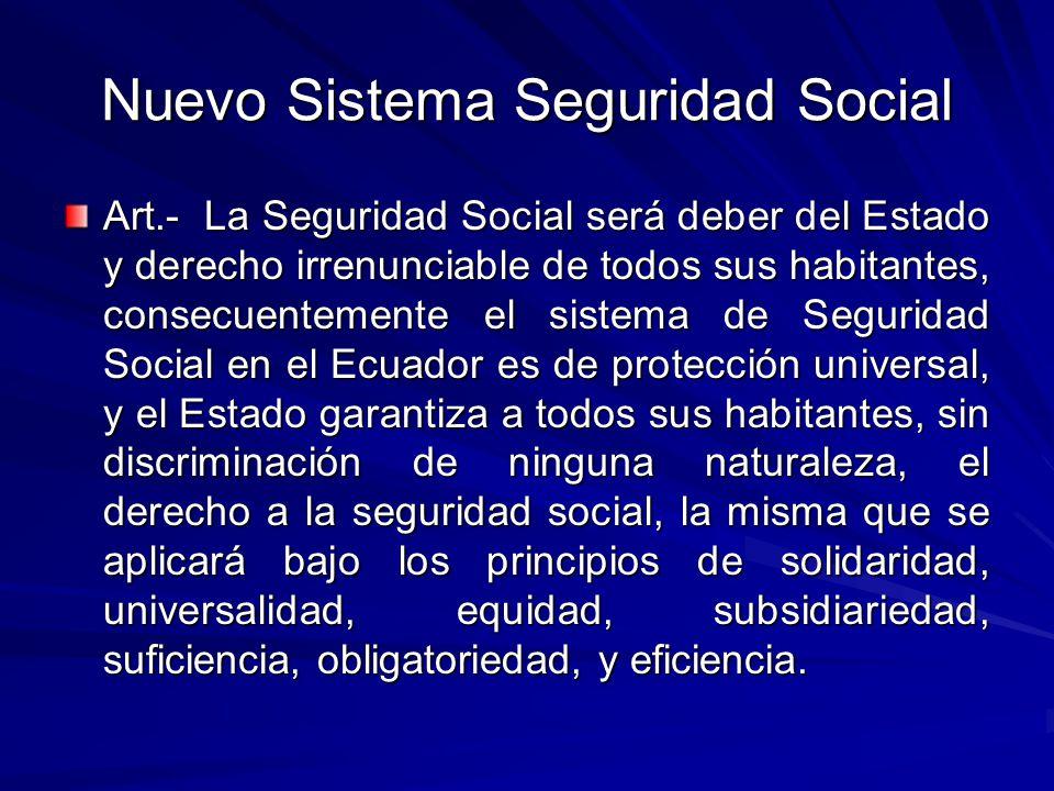 Nuevo Sistema Seguridad Social Art.- La Seguridad Social será deber del Estado y derecho irrenunciable de todos sus habitantes, consecuentemente el si