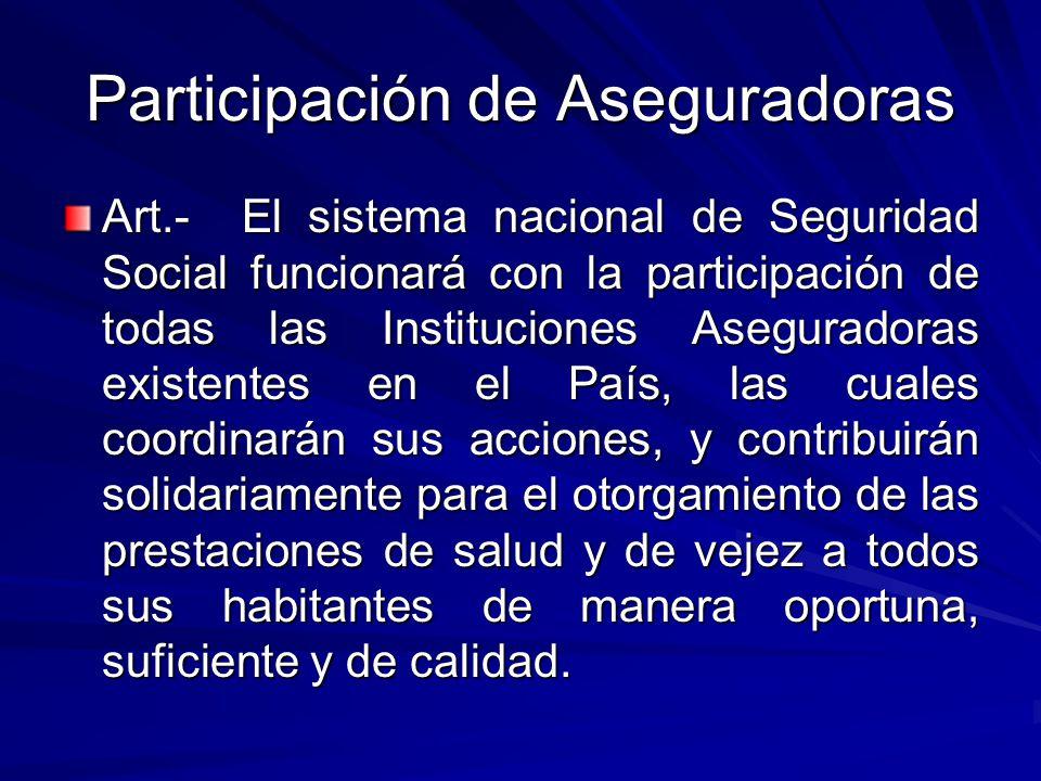 Participación de Aseguradoras Art.- El sistema nacional de Seguridad Social funcionará con la participación de todas las Instituciones Aseguradoras ex