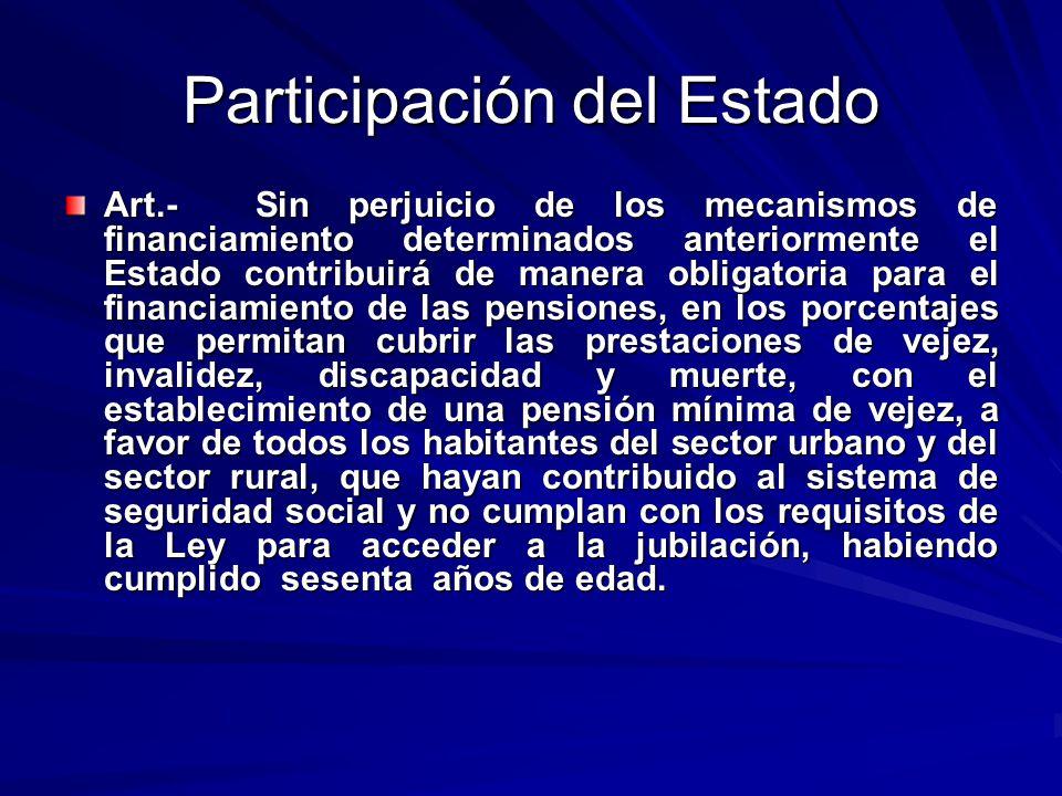 Participación del Estado Art.- Sin perjuicio de los mecanismos de financiamiento determinados anteriormente el Estado contribuirá de manera obligatori