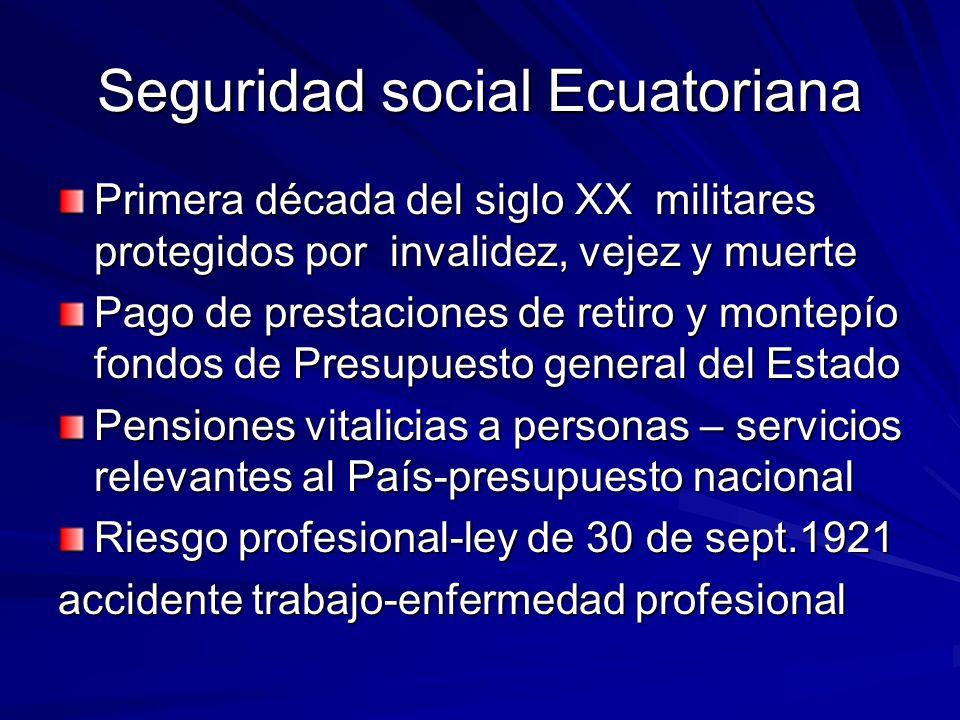 Seguridad social Ecuatoriana Primera década del siglo XX militares protegidos por invalidez, vejez y muerte Pago de prestaciones de retiro y montepío