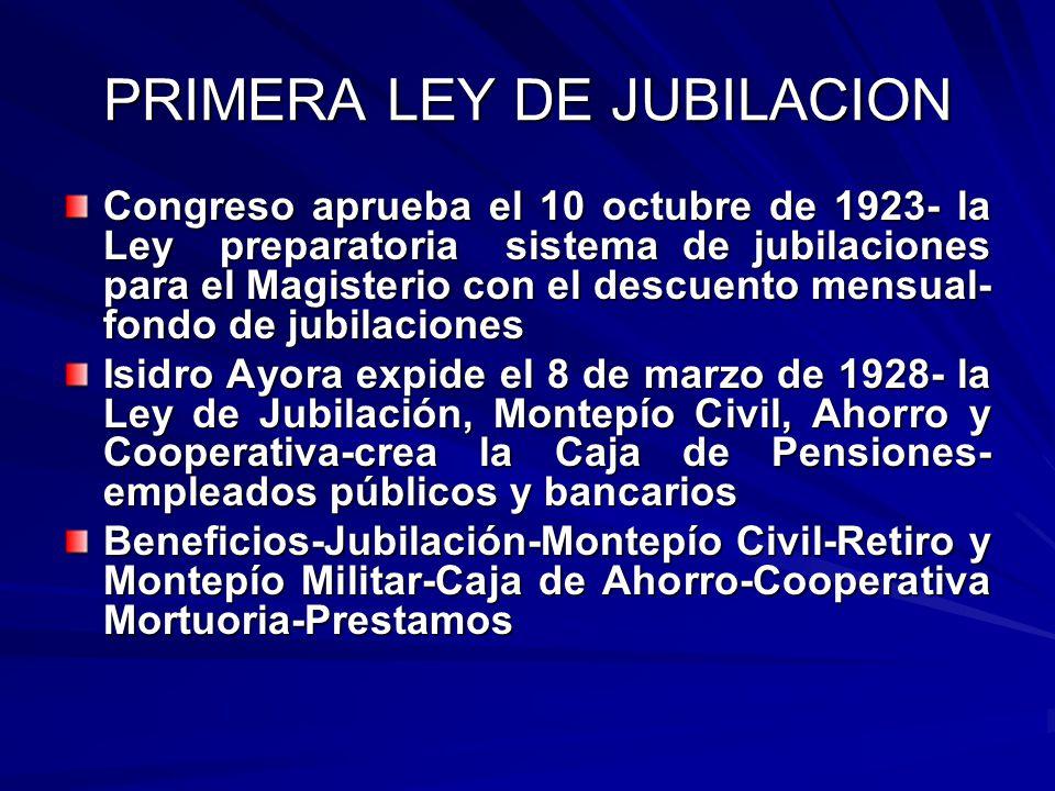 PRIMERA LEY DE JUBILACION Congreso aprueba el 10 octubre de 1923- la Ley preparatoria sistema de jubilaciones para el Magisterio con el descuento mens