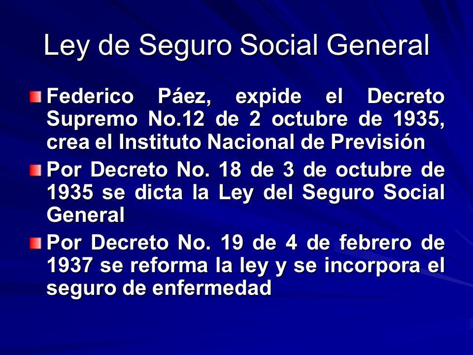 Ley de Seguro Social General Federico Páez, expide el Decreto Supremo No.12 de 2 octubre de 1935, crea el Instituto Nacional de Previsión Por Decreto