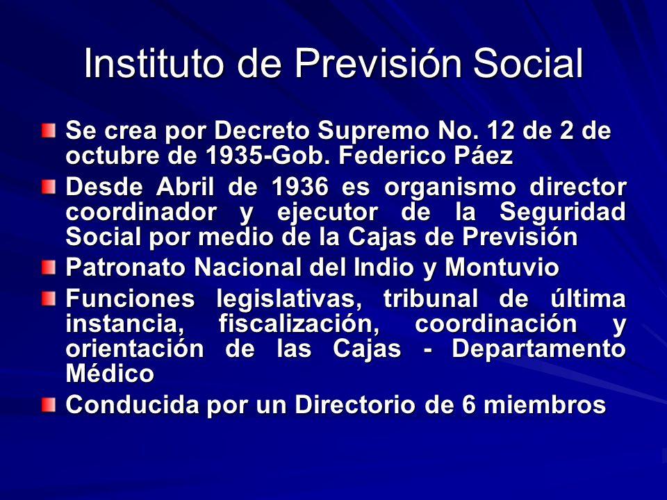 Instituto de Previsión Social Se crea por Decreto Supremo No. 12 de 2 de octubre de 1935-Gob. Federico Páez Desde Abril de 1936 es organismo director