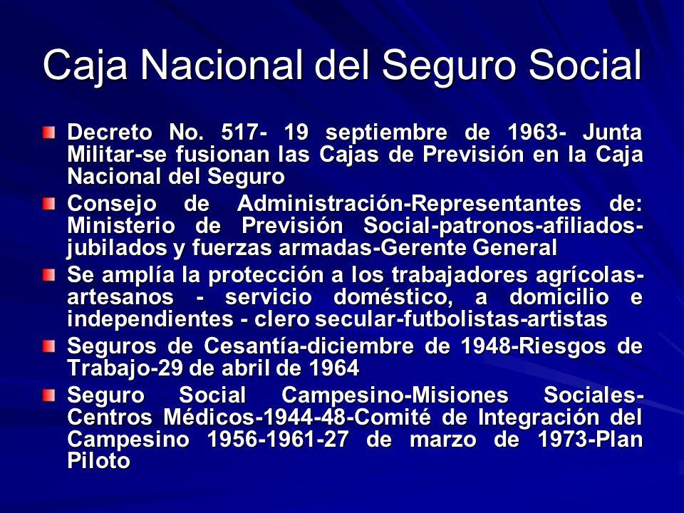 Caja Nacional del Seguro Social Decreto No. 517- 19 septiembre de 1963- Junta Militar-se fusionan las Cajas de Previsión en la Caja Nacional del Segur