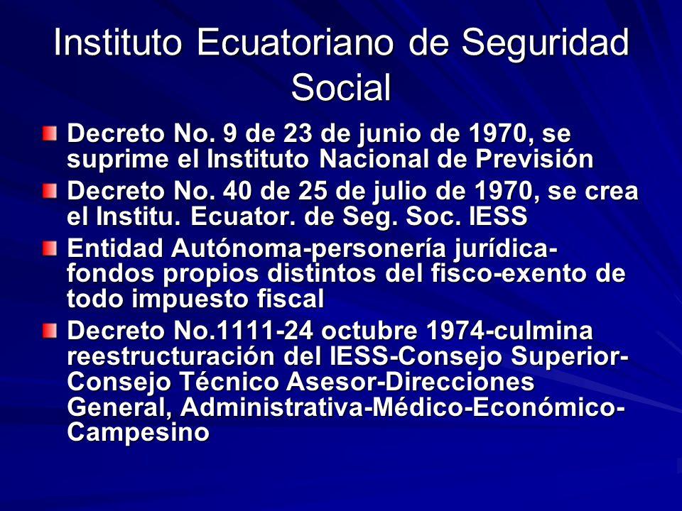 Instituto Ecuatoriano de Seguridad Social Decreto No. 9 de 23 de junio de 1970, se suprime el Instituto Nacional de Previsión Decreto No. 40 de 25 de