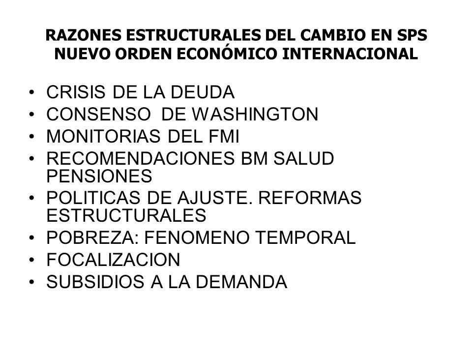 RAZONES ESTRUCTURALES DEL CAMBIO EN SPS NUEVO ORDEN ECONÓMICO INTERNACIONAL CRISIS DE LA DEUDA CONSENSO DE WASHINGTON MONITORIAS DEL FMI RECOMENDACIONES BM SALUD PENSIONES POLITICAS DE AJUSTE.