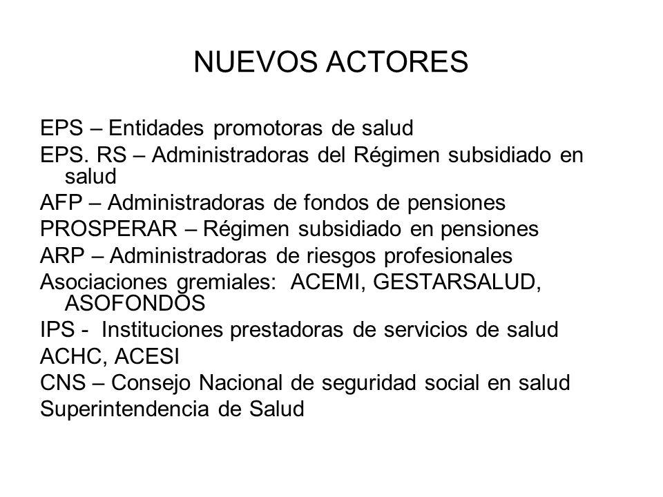 NUEVOS ACTORES EPS – Entidades promotoras de salud EPS.