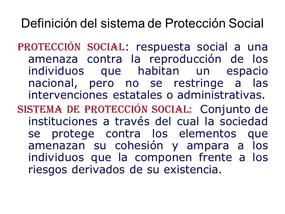 Definición del sistema de Protección Social Protección social : respuesta social a una amenaza contra la reproducción de los individuos que habitan un espacio nacional, pero no se restringe a las intervenciones estatales o administrativas.