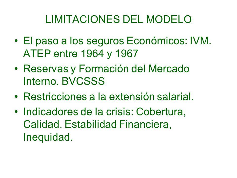 LIMITACIONES DEL MODELO El paso a los seguros Económicos: IVM.