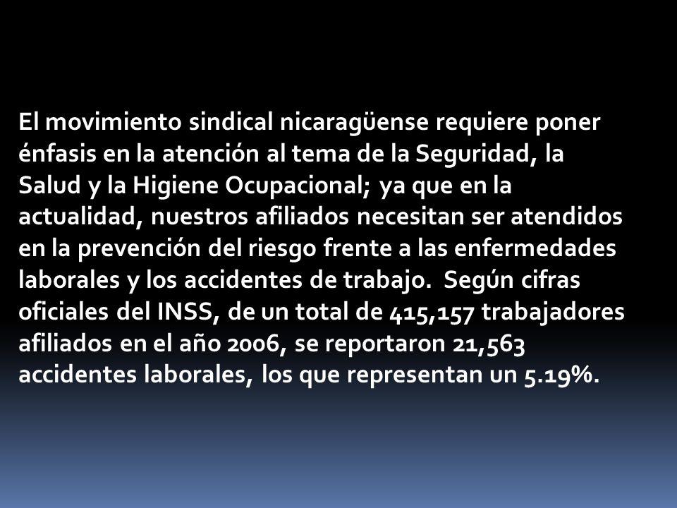 El movimiento sindical nicaragüense requiere poner énfasis en la atención al tema de la Seguridad, la Salud y la Higiene Ocupacional; ya que en la act