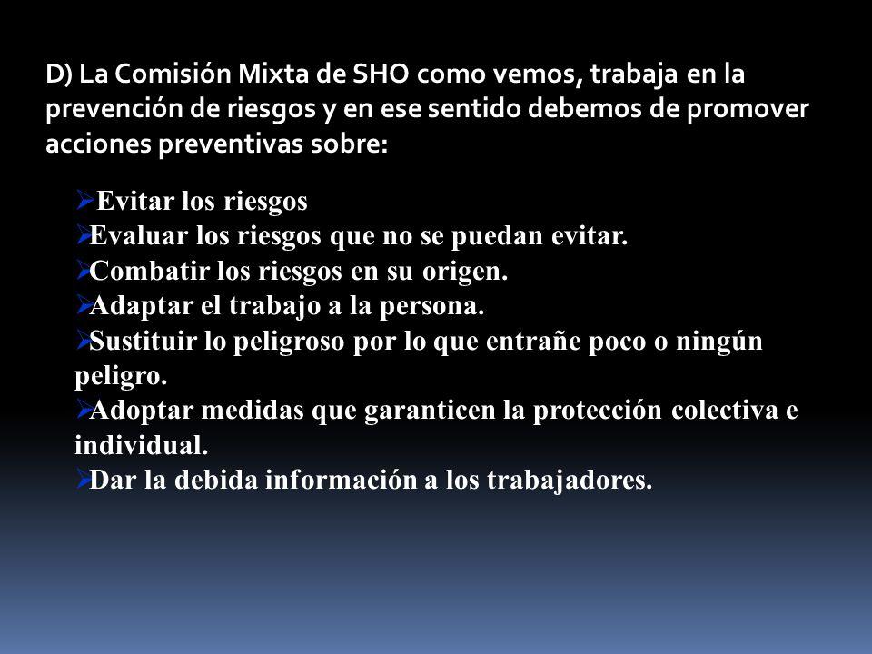 D) La Comisión Mixta de SHO como vemos, trabaja en la prevención de riesgos y en ese sentido debemos de promover acciones preventivas sobre: Evitar lo