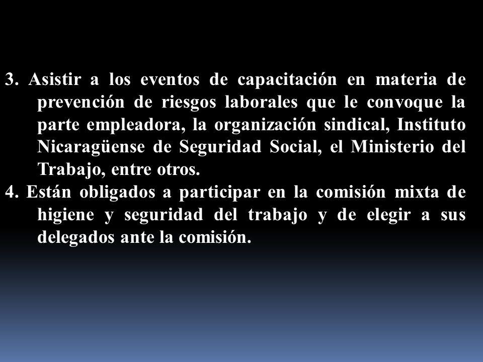 3. Asistir a los eventos de capacitación en materia de prevención de riesgos laborales que le convoque la parte empleadora, la organización sindical,
