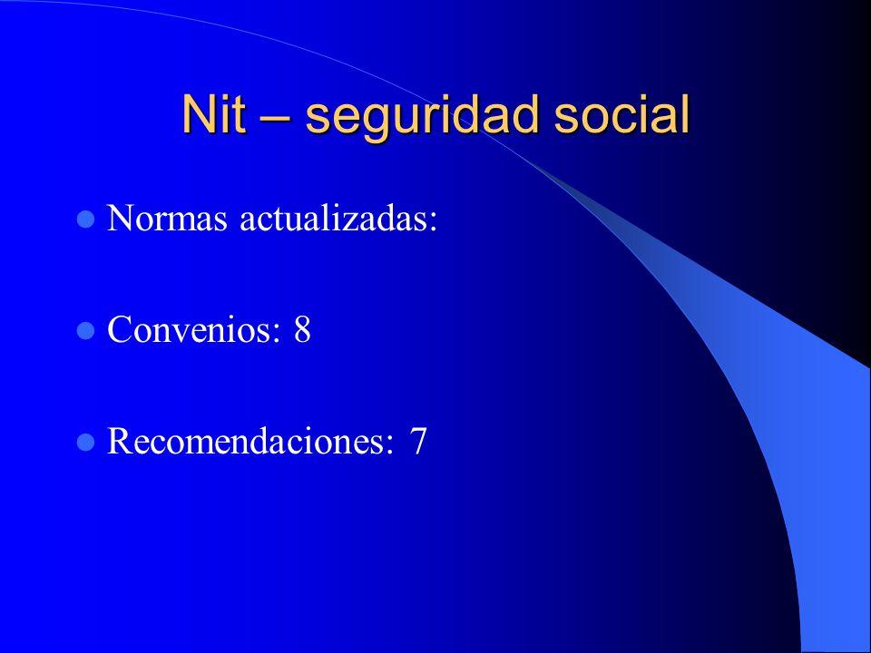 Nit – seguridad social Normas actualizadas: Convenios: 8 Recomendaciones: 7