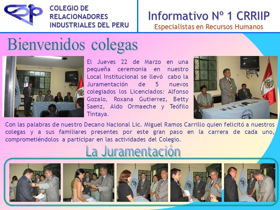 Página 2 Una foto para el recuerdo En la fotografía apreciamos a los nuevos incorporados al Colegio junto con nuestro Decano Lic.
