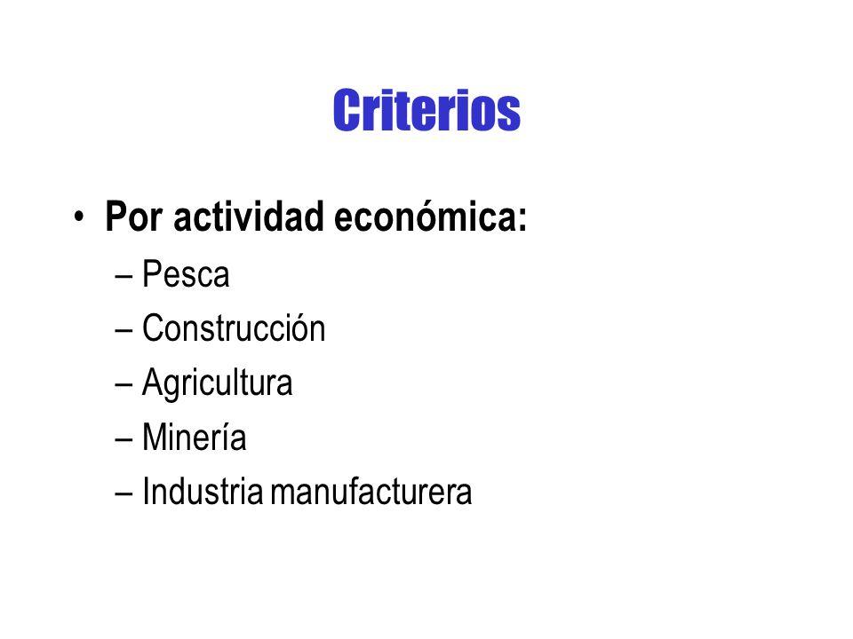 Criterios Por actividad económica: –Pesca –Construcción –Agricultura –Minería –Industria manufacturera