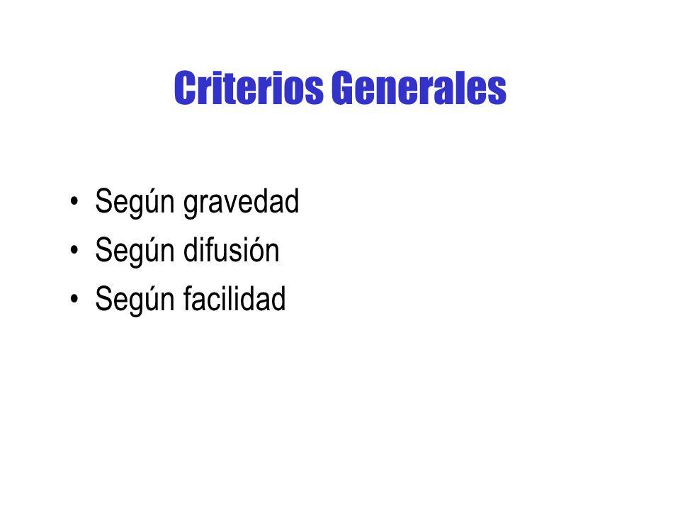 Criterios Generales Según gravedad Según difusión Según facilidad