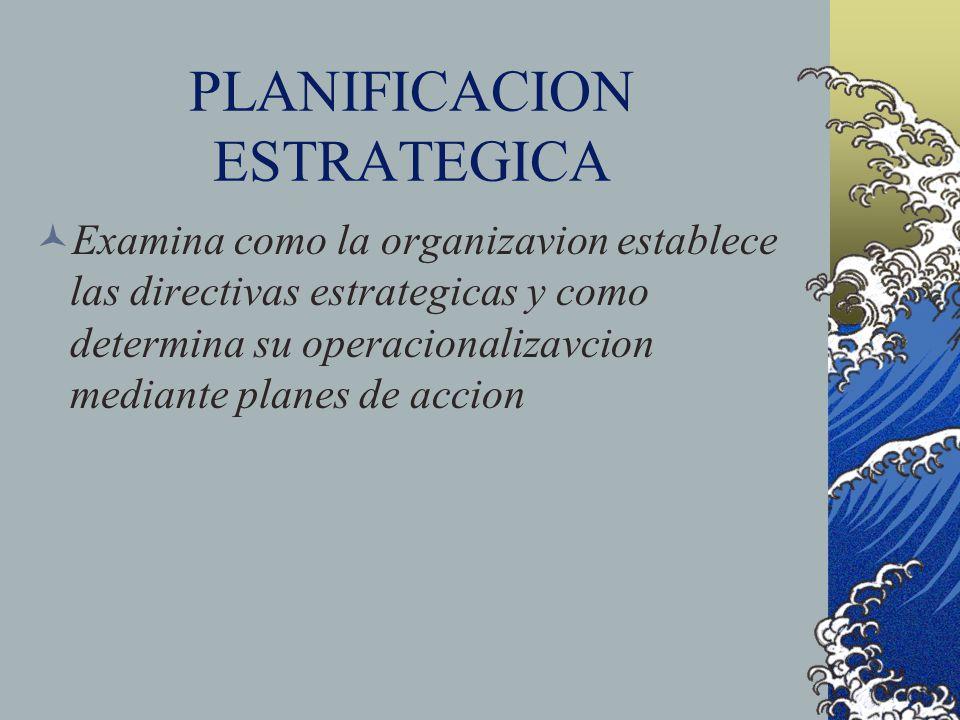 PLANIFICACION ESTRATEGICA Examina como la organizavion establece las directivas estrategicas y como determina su operacionalizavcion mediante planes d