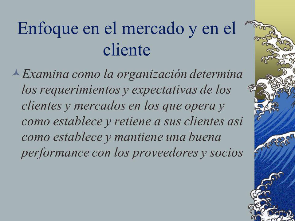 Enfoque en el mercado y en el cliente Examina como la organización determina los requerimientos y expectativas de los clientes y mercados en los que o