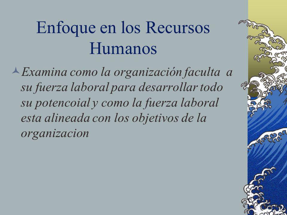 Enfoque en los Recursos Humanos Examina como la organización faculta a su fuerza laboral para desarrollar todo su potencoial y como la fuerza laboral