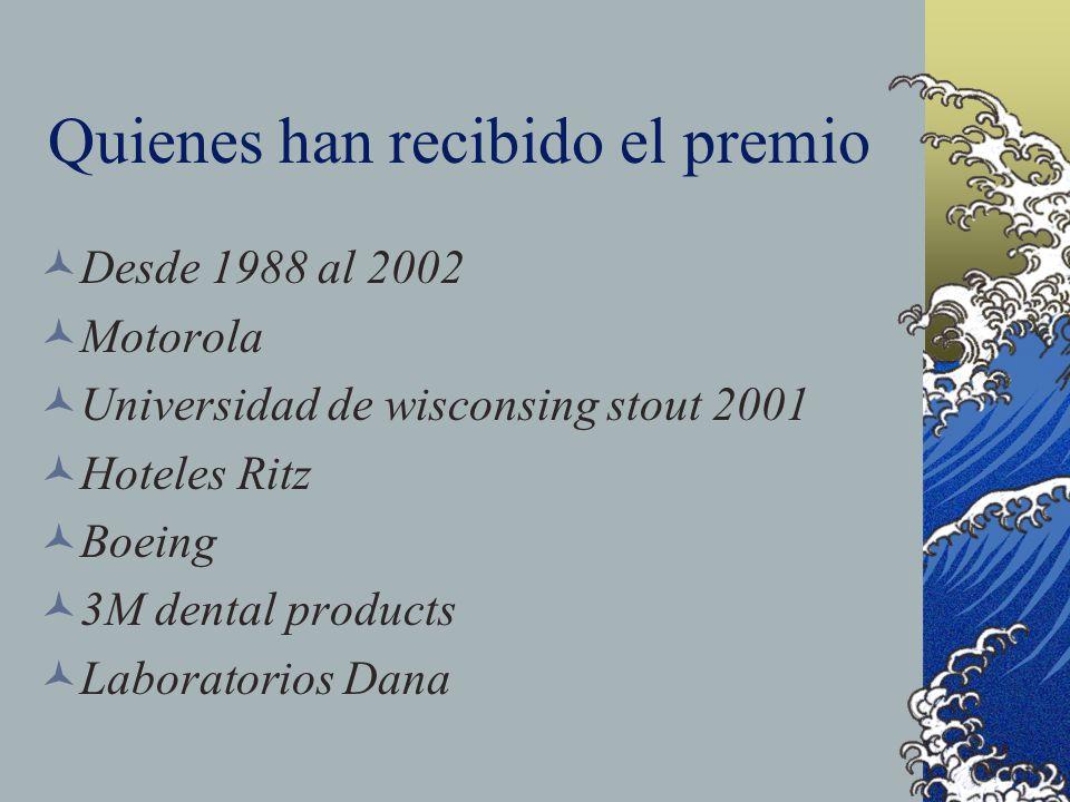 Quienes han recibido el premio Desde 1988 al 2002 Motorola Universidad de wisconsing stout 2001 Hoteles Ritz Boeing 3M dental products Laboratorios Da