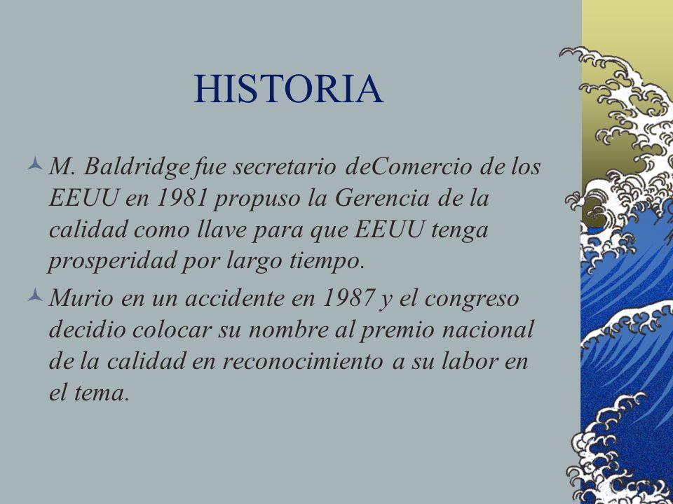 HISTORIA M. Baldridge fue secretario deComercio de los EEUU en 1981 propuso la Gerencia de la calidad como llave para que EEUU tenga prosperidad por l
