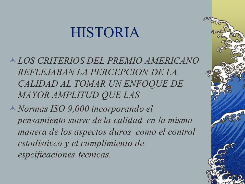 HISTORIA LOS CRITERIOS DEL PREMIO AMERICANO REFLEJABAN LA PERCEPCION DE LA CALIDAD AL TOMAR UN ENFOQUE DE MAYOR AMPLITUD QUE LAS Normas ISO 9,000 inco