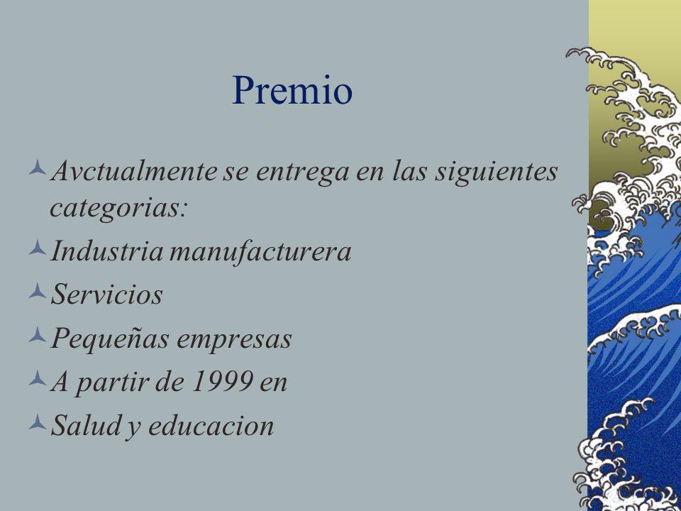 Premio Avctualmente se entrega en las siguientes categorias: Industria manufacturera Servicios Pequeñas empresas A partir de 1999 en Salud y educacion