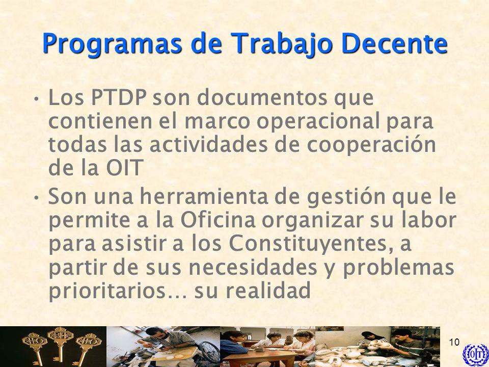 10 Programas de Trabajo Decente Los PTDP son documentos que contienen el marco operacional para todas las actividades de cooperación de la OIT Son una